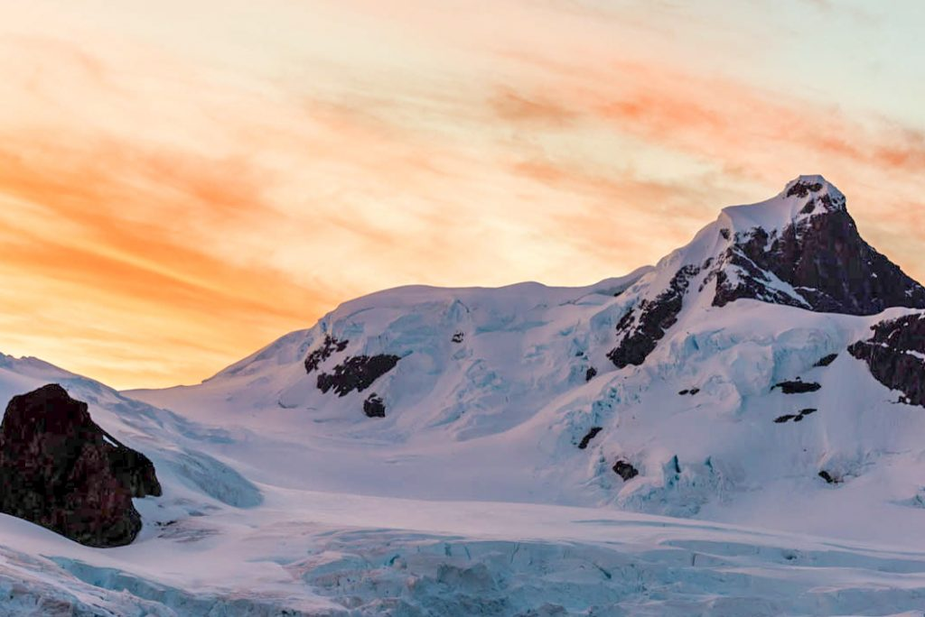 Antarctica midnight sunset