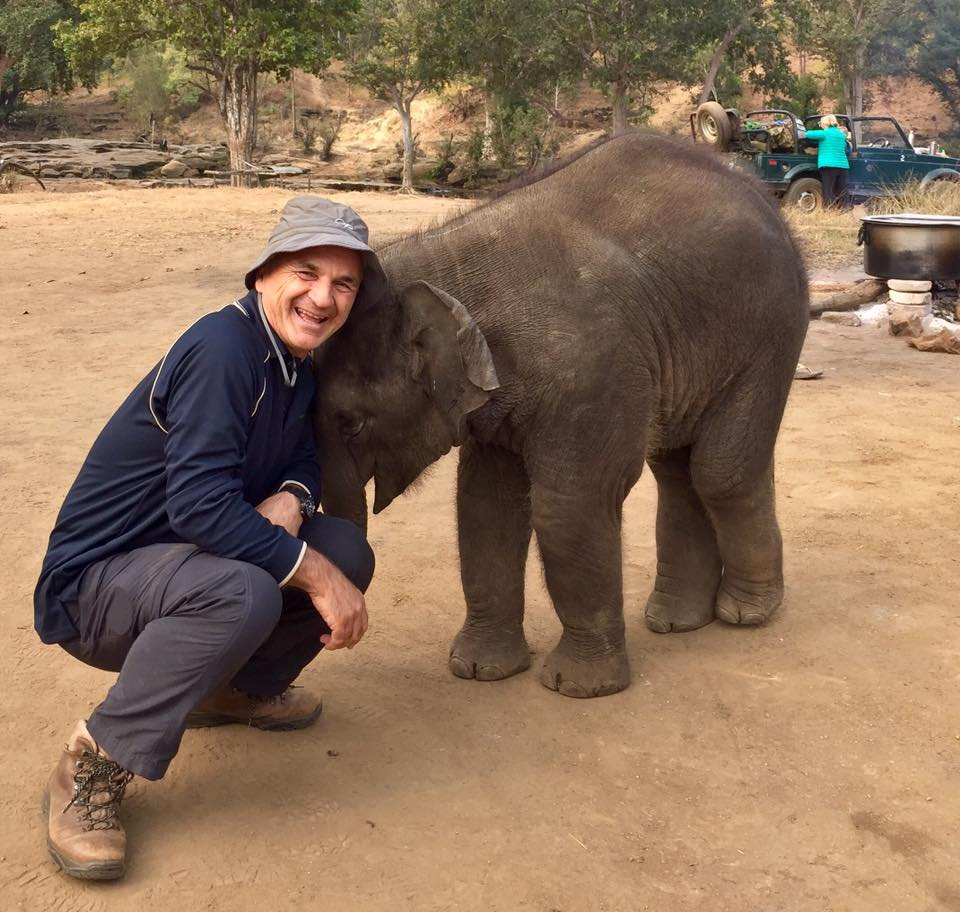Michael Snedic with Baby Asian Elephant