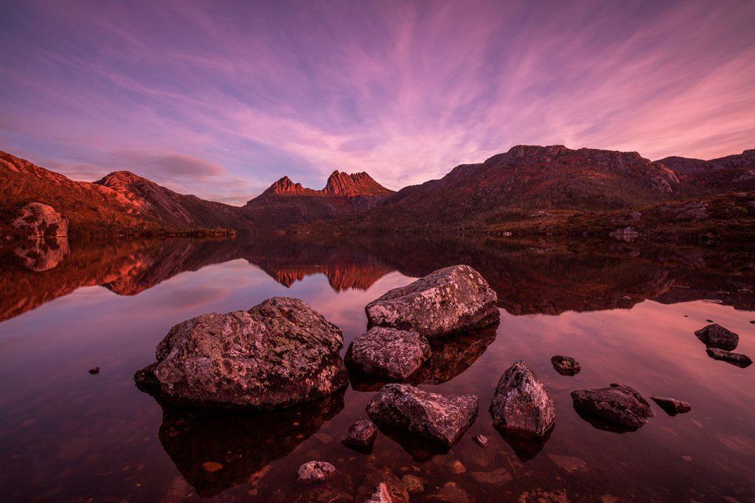 Moody sunset over Cradle Mountain and Dove Lake.Cradle Mountain-Lake St Clair National Park.Tasmania,Australia.